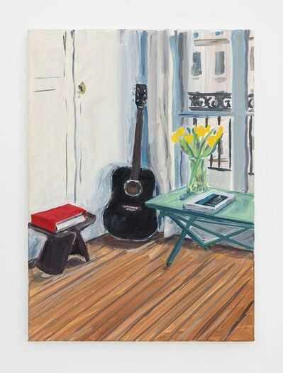 Jean-Philippe Delhomme, 'Black guitar and yellow tulips', 2020
