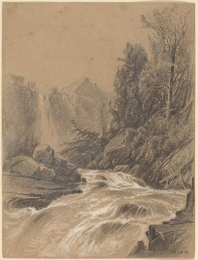 William M. Hart, 'Mountain Landscape, Stream and Waterfall', 1860