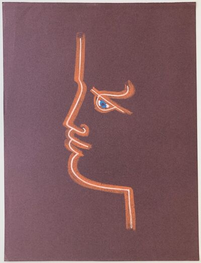 Jean Cocteau, 'Profile in Burgundy', ca. 1958