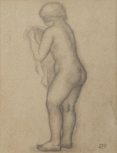 Aristide Maillol, 'Une femme nue debout de trois-quarts dos tenant un voile', 1861-1944