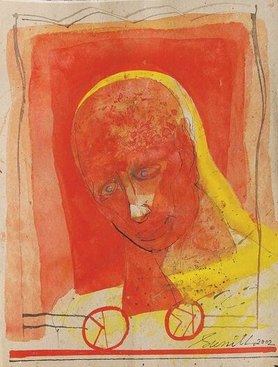 "Sunil Das, 'Head I, Mixed Media on Board, Red, Yellow by Indian Artist Sunil Das ""In Stock""', 2002"