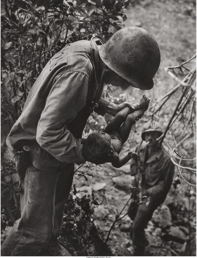 W. Eugene Smith, 'Wounded, dying infant found by American soldier in Saipan Mountains', 1944