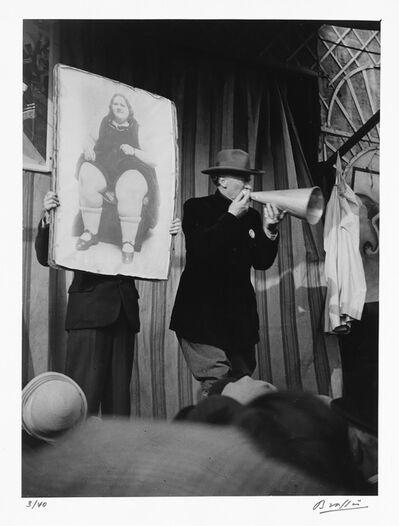 Brassaï, 'Circus barker at Fête de Denfert Rochereau, Paris'