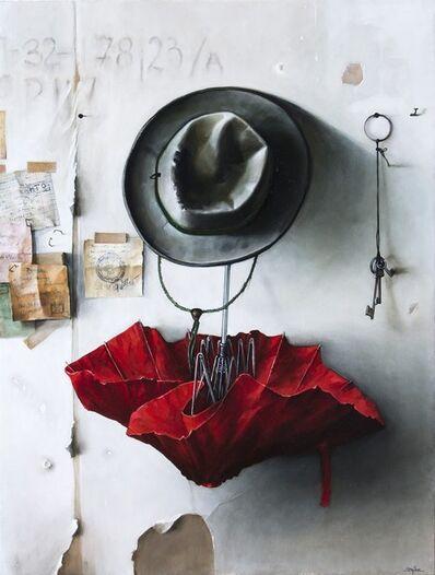 Dmitry Yuzefovich, 'Red Umbrella - Vibrant still life oil on canvas', 2020