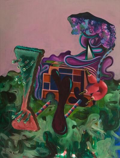 Gorka Mohamed, 'Seating on Green Brushstrokes', 2014