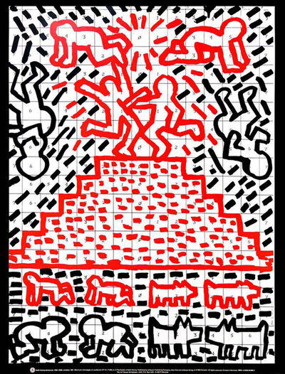 Keith Haring, 'Vintage Keith Haring Pyramid Child Dog Poster', 1991