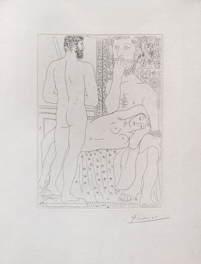 Pablo Picasso, 'Sculpteur, modèle couché et autoportrait en Hercule sculpté', 1933