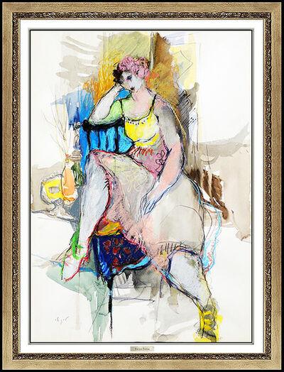 Itzchak Tarkay, 'Itzchak Tarkay Large Original Watercolor Painting Pastel Signed Female Portrait', 20th Century