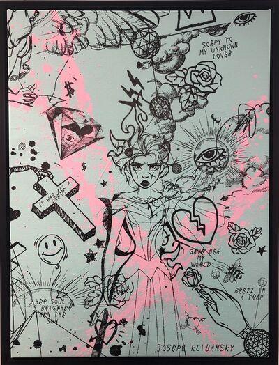 Joseph Klibansky, 'Villains in My Head (small turquoise, pink splash, black)', 2019