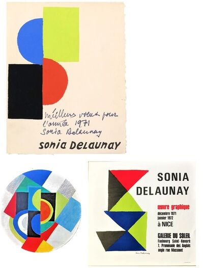Sonia Delaunay, '3- Pieces Folded Folio, Lithograph, Signed with Inscription (Best wishes for the year 1971 Sonia Delaunay) , Exhibition Poster & Invitation', 1971