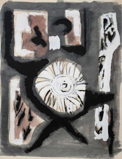 Dusti Bongé, 'Untitled (Black and White Abstract with Eyeball Form)', ca. 1955
