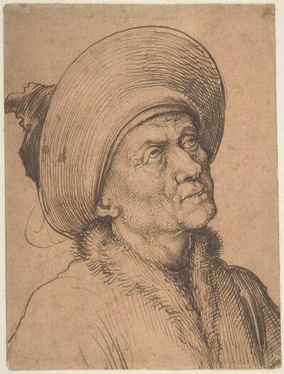 Martin Schongauer, 'Bust of a Man in a Hat Gazing Upward', ca. 1480–1490