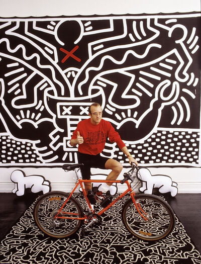 Thomas Hoepker, 'Grafiti artist Keith HARING with a painting and self-designed bike USA. New York City', 1986