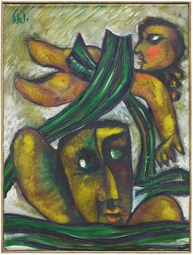 Joël Kass, 'Abstract Oil Painting by noted Figurative Expressionist Israeli Artist Joel Kass', 20th Century