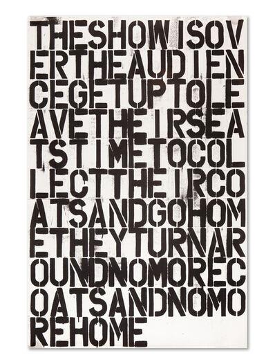 Felix Gonzalez-Torres, 'Untitled (The Show is Over)', 1993