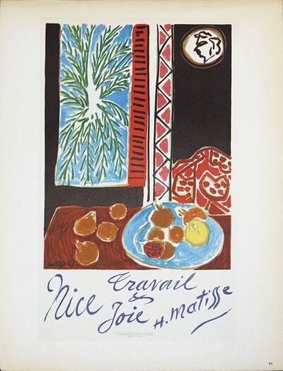 Henri Matisse, 'Nice Travail & Joie', 1959