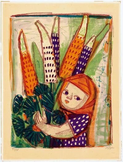 Otto Dix, 'Kind mit Lupinen', 1960