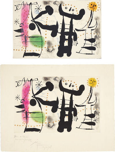 Joan Miró, 'Les philosophes II (The Philosophers II): two impessions', 1958