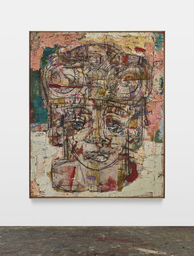 Daniel Crews-Chubb, 'Head (Serpents and drummer, pink, green, yellow)', 2020