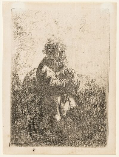 Rembrandt van Rijn, 'St Jerome Kneeling in Prayer, Looking Down', 1635