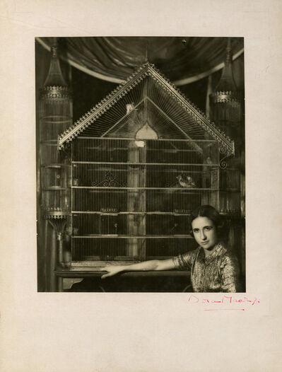 Dora Maar, 'Portrait of Lise Deharme Lise Deharme, chez elle devant sa cage a oiseaux', 1936