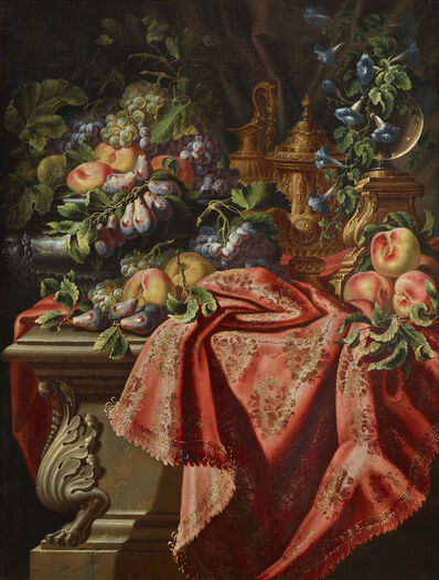 Gabriello Salci, 'Still lifes with fruit, flowers, glass vases, gilt-bronze and silver-gilt works of art on tables draped with gilt-metal-embroidered textiles', ca. 1720