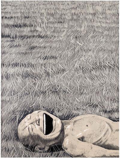 Yue Minjun, 'The Grassland Series Screenprint 3 (Lying Head Laughing)', 2008