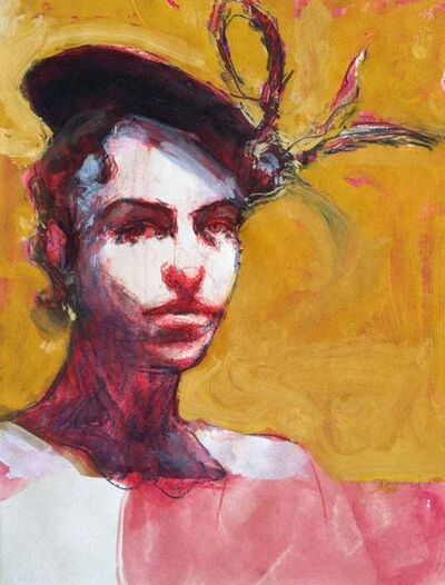Kim Frohsin, 'Talia in Fruitvale / woman with hat, red and gold drawing painting ', 2010