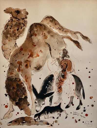 Reuven Rubin, 'Modern Israeli Lithograph Reuven Rubin Views Of Israel Judaica Camel Rider Goat', 1960-1969