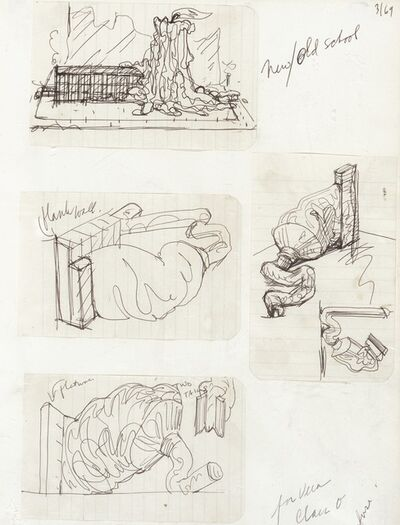 Claes Oldenburg, 'Notebook Page: Designs for the New School (doodles during a discussion of the subject)', 1969