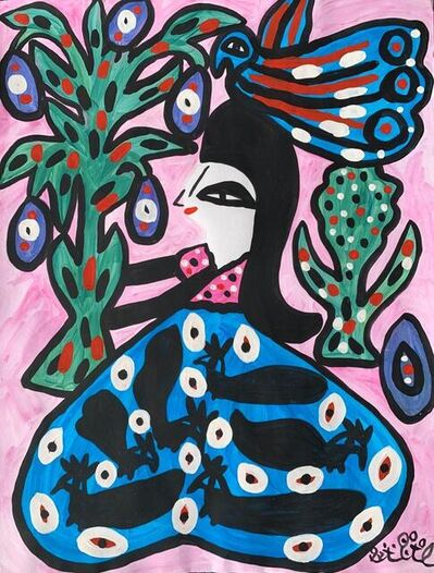 Mahieddine Baya, 'Femme aux fleurs et oiseau', 1997