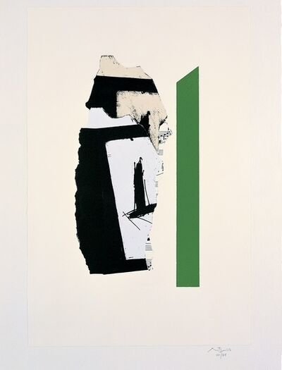 Robert Motherwell, 'In White with Green Stripe', 1987