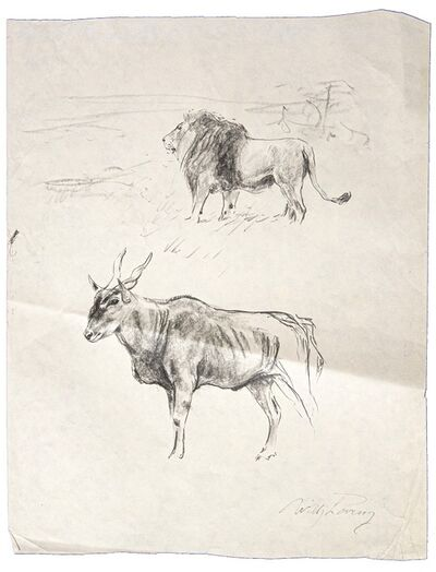 Wilhelm Lorenz, 'Gnu and lion', 20th Century