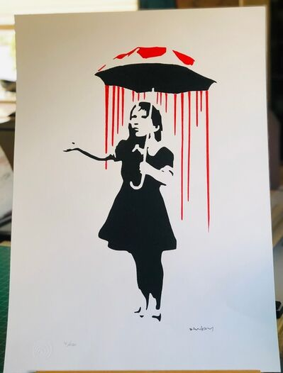 Banksy, 'Nola Girl with Umbrella Red Rain and Red Top', 2016