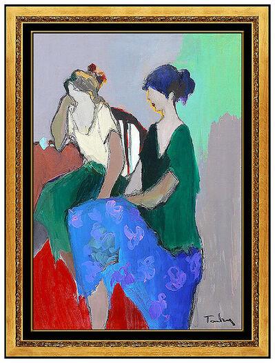 Itzchak Tarkay, 'Itzchak Tarkay Original Oil Painting On Canvas Signed Cafe Ladies Portrait Art', 20th Century