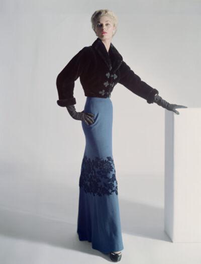 Horst P. Horst, 'Model Jean Patchett in a sealskin Mainbocher Jacket and floor-length skirt with velvet flowers at the knee, Vogue', 1951