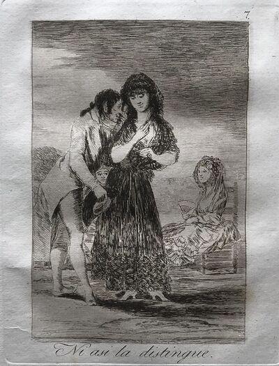 Francisco de Goya, 'Even thus he cannot make her out (Ni asi la distingue). Plate 7 from 'Los Caprichos'.  ', 1799