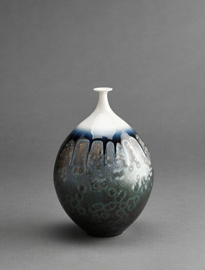 Hideaki Miyamura, 'Vase, sea foam green glaze with snow cap'