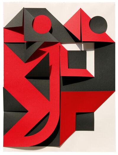 Enrico Castellani, 'Nero-rosso', 2000