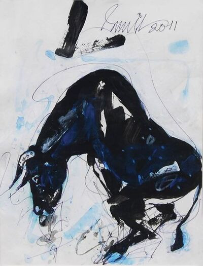 """Sunil Das, 'An Old Horse, Ink on paper, Blue, Black, White by Modern Indian Artist """"In Stock""""', 2011"""