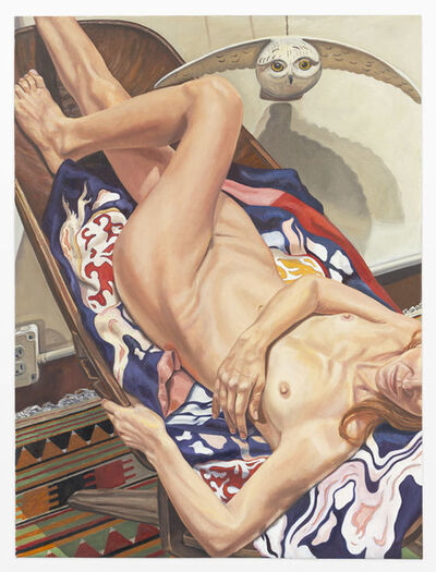 Philip Pearlstein, 'Model on African Chair with Japanese Robe and Wooden Owl', 2011