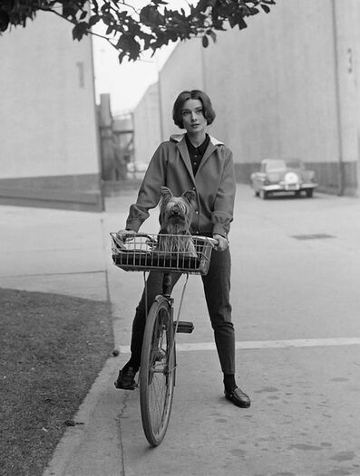 Sid Avery, 'Audrey Hepburn on her bike at Paramount Studios', 1957