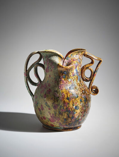 George Ohr, 'Mottled two-sided, two-handled vase', ca.1895