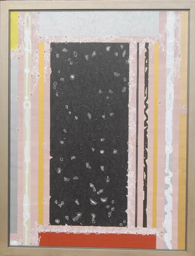 Amitava Das, 'Abstract, Mixed Media, black silver pink grey colors, textured with gold by Modern Indian Artist Amitava Das', 2007