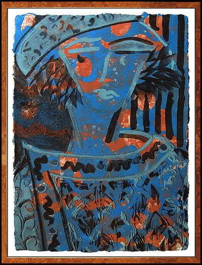 Robert Kushner, 'Robert Kushner Original Monoprint Painting Signed Abstract Large Portrait Art', 1970-1989