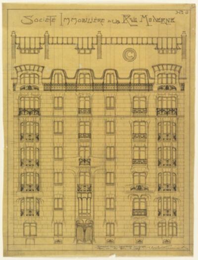 Hector Guimard, 'Design for the facade of Société Immobilière de la Rue Moderne', 1909