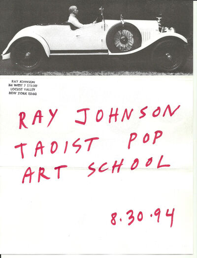 Ray Johnson, 'Mail Art + Ephemera, Dear Raphael Rubinstein at Art In America (Taoist Pop Art School, Car)', 1994