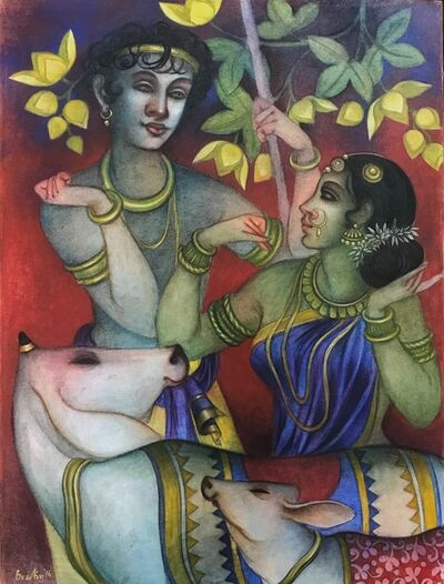 "Bratin Khan, ' Jugal, Tempera on Canvas, Green, Yellow, Red, by Contemporary Artist ""In Stock""', 2016"