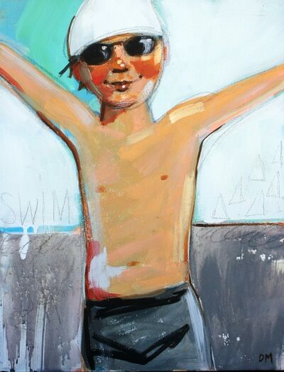 """Debbie Miller, '""""Swim"""" oil painting of a boy in black shorts, goggles and a white swim cap on green background', 2019"""