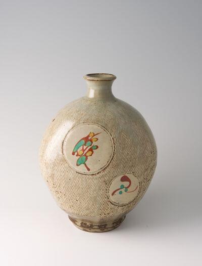 Tatsuzo Shimaoka, 'Bottle, rope and slip inlay with wax resist overglaze enamel decoration'